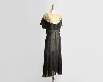 30's Sheer Silk Chiffon Dress // 1930's 20's Lace Capelet Dress // Roaring 20's Flapper Deco //