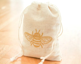 Bubble Bee bag 6 cotton favor bag with stamp gift sack nature party wedding