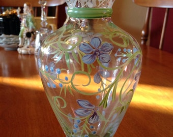Pretty Vintage Handpainted, Handblown Glass Vase