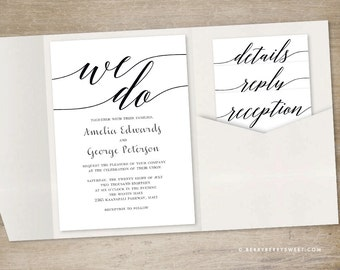 Printable Pocket Wedding Invitation Template - MOD SCRIPT Wedding Suite