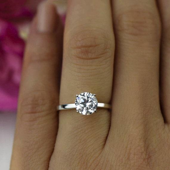 1 5 Ct Classic Engagement Ring Man Made Diamond Simulant