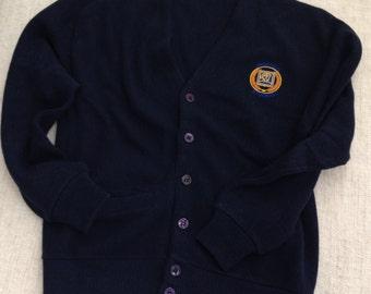 80s vintage Universal Studios sewn on navy blue preppy cardigan sweater