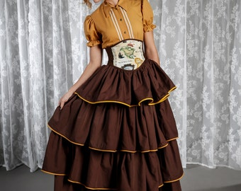 Victorian Blouse, Steampunk Blouse, Lolita Blouse, Steampunk Shirt, Beige Shirt, Western Shirt, Cotton Shirt, Brown Shirt, Puffed Sleeve