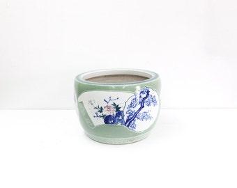 Large Blue & White Celadon Jardiniere