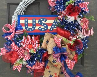 Patriotic Wreath, July 4th Wreath, USA Wreath, America Wreath, Red White Blue Wreath, 4th of July Wreath, July 4 Decor, USA Decor