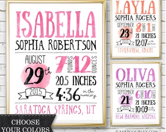 Baby Girl Birth Announcement, Birth Stats Printable, Hand Drawn Girl Nursery Decor, Typography, Watercolor, Digital Download, Prinable