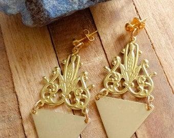Chandelier Brass Earrings, Triangle Statement Earrings, Festival Golden Jewelry