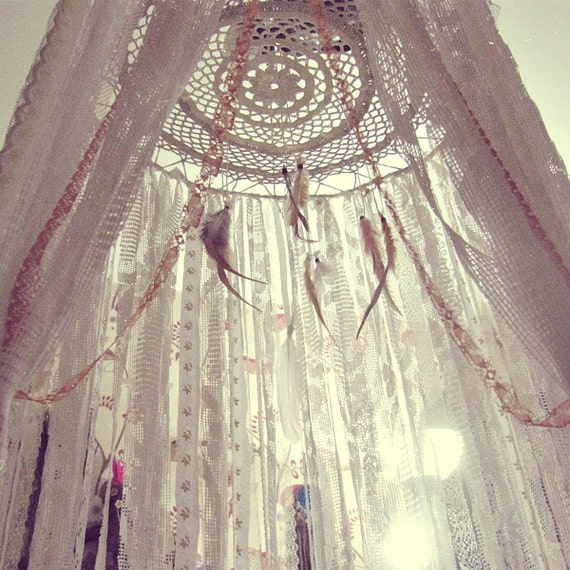 Boho bed crown baby crib canopy gypsy nursery decor for Diy baby crib canopy