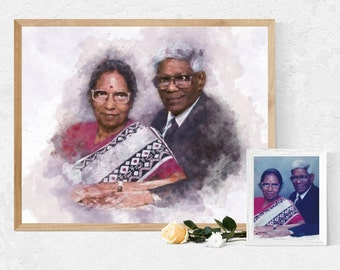 Custom memorial or commemorative Portrait - A bespoke portrait digitally illustrated from your photo in remembrance of your loved one.