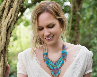 Bohemian Blue Cascading Necklace