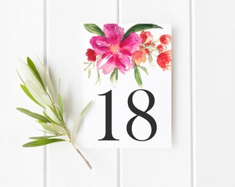 INSTANT DOWNLOAD Table Numbers - Hot Pink Hand Painted Watercolor Flower Posy Table Numbers - Floral Table Numbers Card - Tables 16-20