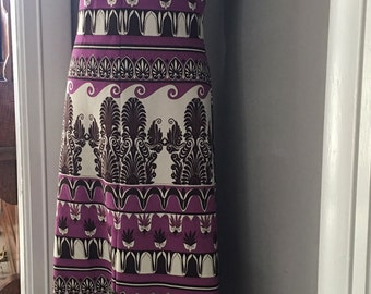 Mod and elegant 1960's cream, purple and chocolate dress