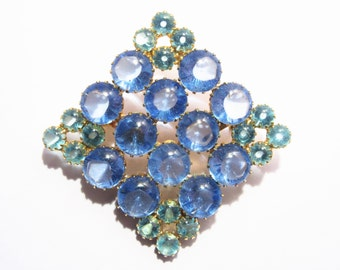 Large Vintage Diamond Shape Blue Glass Brooch 60s