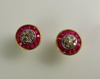Art Deco Diamond Ruby Earrings Bullet Earrings Bullet Jewelry 1920s Earrings Antique Diamond Earrings 18K Gold Diamond Studs 1930s Earrings