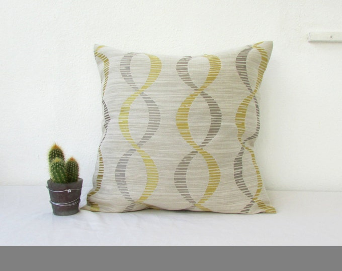 Gold and grey cushion cover, handmade in the UK