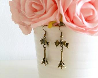 Handmade Antique Bronze Earrings, Ribbon Bow Earrings, Eiffel TowerEarrings, Gift for her, Valentine Gift, Traveler Earrings, Boho Earrings
