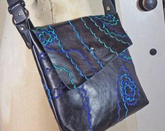 black leather embroidered messenger / hip bag