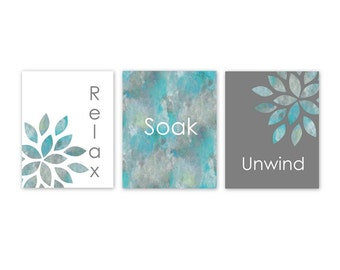 Bathroom Wall Art Relax Soak Unwind Home Decor Bathroom Wall Decor Bathroom Pictures Set of 3 Botanical Grey Turquoise Bathroom Turquoise