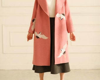 Fine Art Collection pink wool white crane hand embroidery winter coat Limited edition