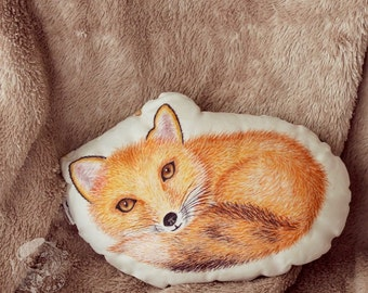 Fox animal pillow. Red fox cushion nursery decor. Woodland pillow. Woodland Nursery decor. Gift for kids. Woodland animal decorative pillow.