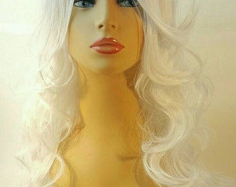 Platinum Wig, Long Blonde Wig,  Past the Shoulder Wavy White Platinum Wig with Side Part and Long Textured Layers