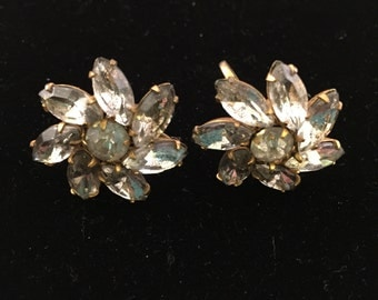 Vintage Lisner Earrings, Gold Tone With Clear Rhinestones, 1960s