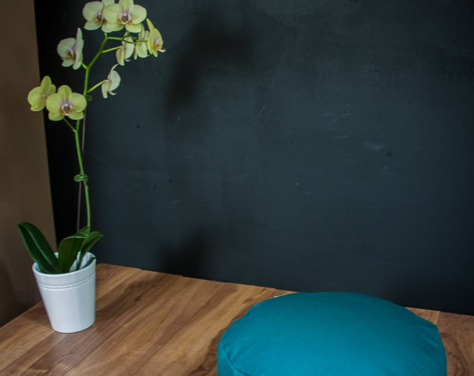 Meditation cushion Pouf zafu Teal Plain cotton organic Buckwheat pouf with handle - handmade by Creations Mariposa ZP-SU