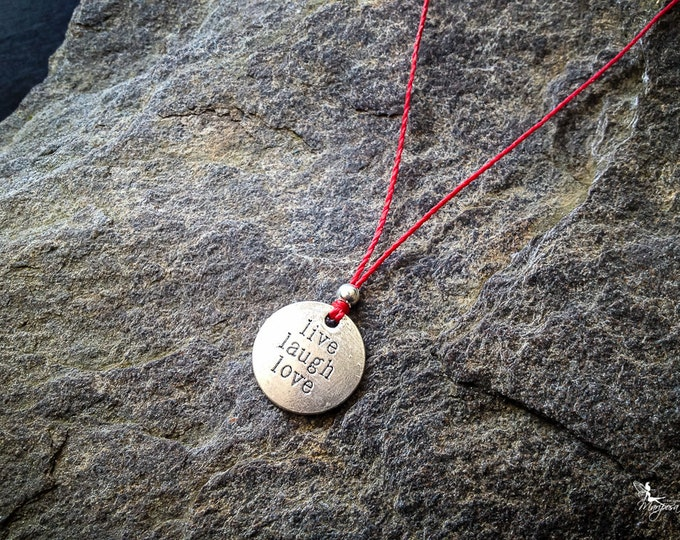 Red string Necklace yoga meditation motivaltional mantra Live Laugh Love Medallion crimson thread boho jewelry by Creations Mariposa