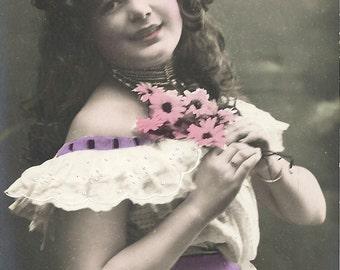 White gypsy dress, Edwardian beauty, long curly hair, beaded choker,  pink flowers, hand tinted, Edwardian photo, pretty girl  (rppc/gl140)