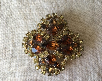 Vintage Rhinestone Brooch, Amber, Yellow, Gold Tone, Earring PK114