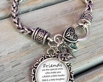 Gift for friend, decorative charm bracelet with heart lobster clasp, friendship bracelet, birthday gift for friend