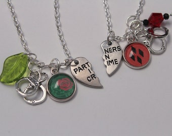 Harley Ivy Bff Necklace Set DC Comic Inspired Jewelry Harley Quinn Poison Ivy OTP Partners in Crime Comic Book Jewelry Charm Geek Nerd Gift