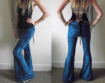 Mermaid Stretch Velvety Fold over Skirt Pants with Honeycomb Studs