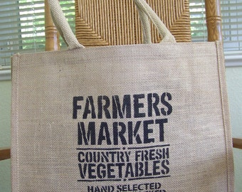 Farmers market tote bag, Burlap tote bag, Stenciled tote bag, Eco friendly bag, Reusable bag, Market bag, Typography tote