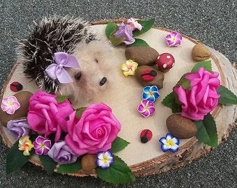 Miniature Needle felt Hedgehog Woodland Scene 'Hog Garden' 22cm