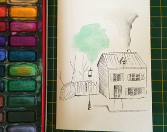 Pen and Watercolour House Card
