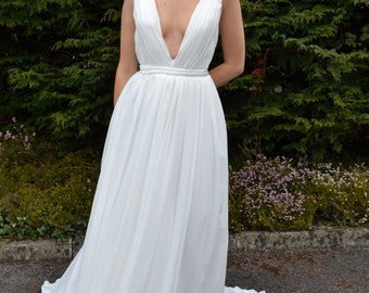 Plunging Bridal Gown Backless Wedding Dress Simple