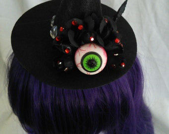 Black Roses and Eyeball Mini Witch's Hat with hair clip