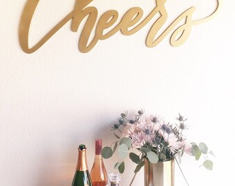 """Large Cheers Sign - Wedding Sign - Backdrop Sign - Birthday Sign - Laser Cut Wood 37"""" Wide x 18"""" tall - Shipped anywhere in USA"""