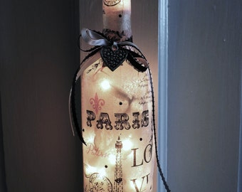 Paris Wine Bottle Lamp | Pink French Decor | Paris Gifts | Wine Bottle Accent Lamp | Paris Decor | Eiffel Tower Decor | Night Light