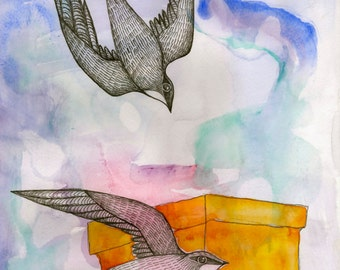 Artist Giclee Print of Water Color Painting by Jenn Rawling. 'Two by Two'.