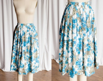 Dreaming In Blue skirt | vintage 50s skirt | blue watercolor print skirt | 1950s cotton skirt | pleated cotton 50s skirt