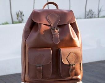 Leather Backpack - EXTRA LARGE Full Grain Handmade backpack, 2 pockets Rucksack, Caramel Color