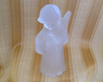 Frosted Glass Angel Taper Candle Holder, Timeless Treasures Angel Candle Holder, Angel Playing Lute Candle Holder, Lute Playing Angel,