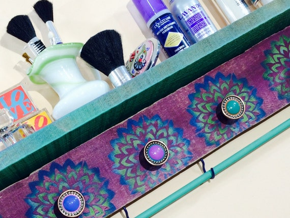 Floating shelves pallet wood wall hanging shelf /reclaimed wood shelving /makeup organizer lotus flowers 5 knobs 2 hooks teal bracelet bar