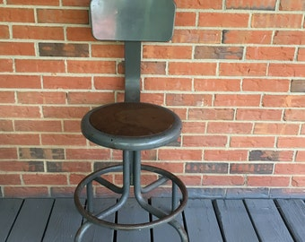 Interesting Vintage Drafting Chair Steel Stool Shop Factory Seating Industrial A With Design