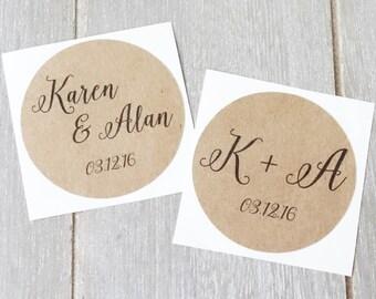 "Wedding Personalised Stickers 1.8"" (45mm) ~ Name Initials ~ Custom Sticker ~ Bomboniere ~ Invitation ~ Baby Shower, Engagement, Anniversary"