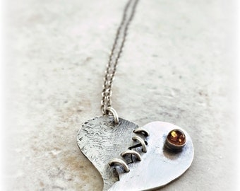 Mended Heart - Heart Shaped Necklace - Relationship Jewelry - Romantic Jewelry - Love Necklace - Heart Pendant - Broken Heart Necklace