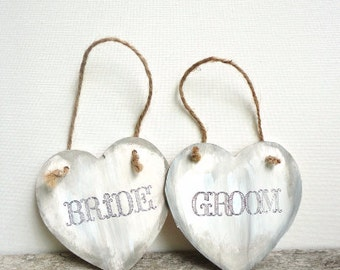 Wedding Chair Sign, Bride and Groom Chair Signs, Wedding Photo Props, Rustic Wedding Decor, Wedding Sign