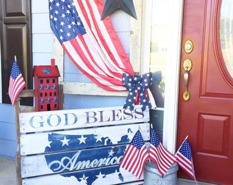 Wooden Sign - American Flag - Pallet wood - Rustic - USA - Red White Blue - Old Glory - Patriotic - 4th of July